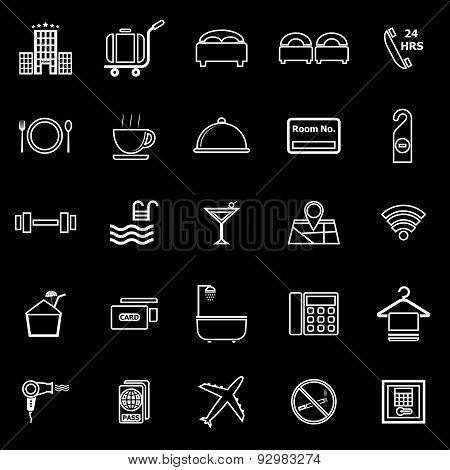 Hotel Line Icons On Black Background