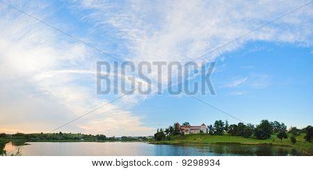 Summer Evening Svirzh Castle View (lviv Oblast, Ukraine).
