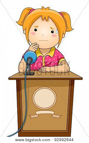 Illustration of a Nervous Girl Standing Behind a Podium