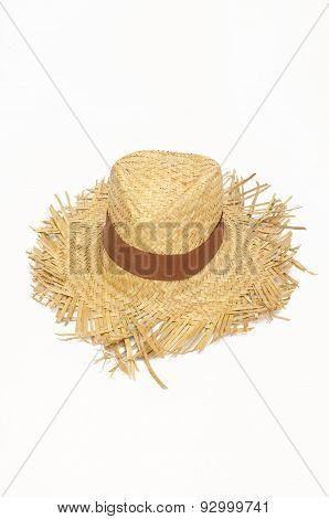 Straw hat, summer panama isolated on a white background