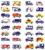 illustration set of emergency vehicles icons on a white background poster