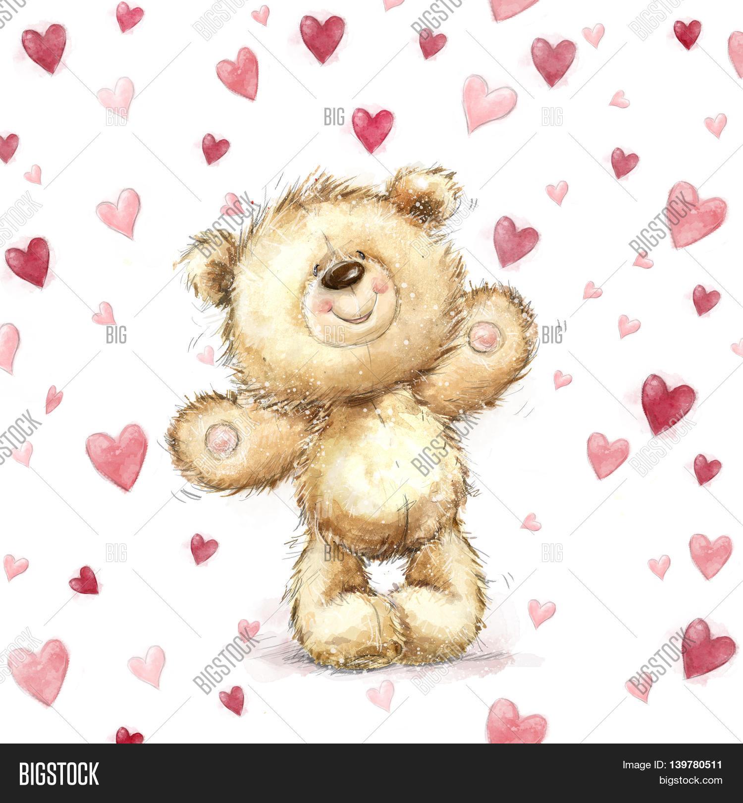 Teddy bear red heartslentines image photo bigstock teddy bear with red heartslentines greeting card love designlovei kristyandbryce Choice Image