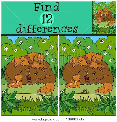 Children Games: Find Differences. Daddy Bear With His Sleeping Little Cute Baby Bears.