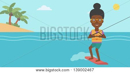 An african-american sports woman wakeboarding on the sea. Wakeboarder making tricks. Woman studying wakeboarding. Young woman riding wakeboard. Vector flat design illustration. Horizontal layout.