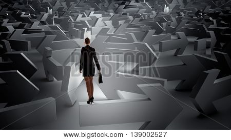 Troubled businesswoman finding way out . Mixed media