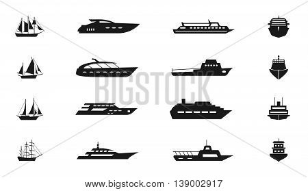 Ship and boat vector icon. Set of ship for travel, illustration boat and ship for transportation on water