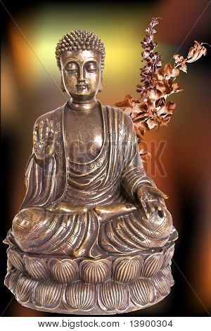 Figure of Buddha with flowers