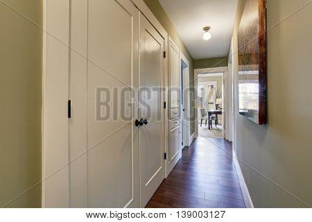 Hallway With Green Walls And Hardwood Floor.