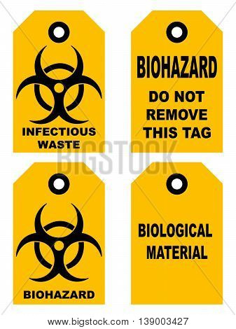 Biohazard symbol sign of biological threat alert, black yellow signage text, isolated set of tags for bags box vector illustration do not remove this tag infectious waste biological material