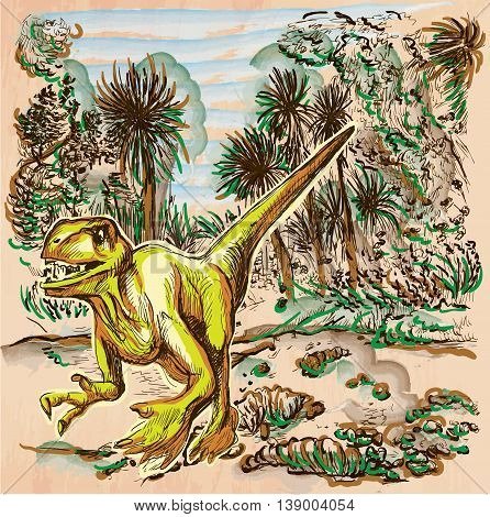 Velociraptor. DINOSAURS - Life in the prehistoric time. Freehand sketching line drawing. An hand drawn vector illustration. Colored background is isolated. Colored line art. Vector is easy editable.
