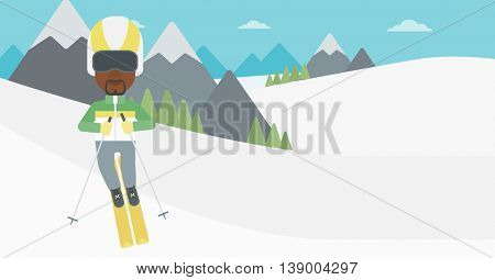 An african-american sportsman skiing on the background of snow capped mountain. Skier skiing downhill in mountains. Male skier on downhill slope. Vector flat design illustration. Horizontal layout.