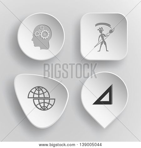 4 images: human brain, ethnic little man with brush, shift globe, triangle ruler. Education set. White concave buttons on gray background. Vector icons.