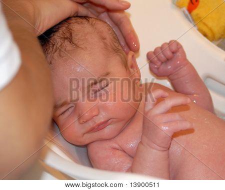 Mixed Race Baby Bathing