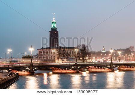 Stockholm City Hall (stadshuset) At Night, Sweden