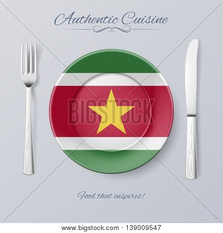 Authentic Cuisine of Suriname. Plate with Surinamese Flag and Cutlery