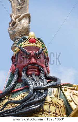 Chinese statue of Guan Yu in island Koh Samui Thailand . Close up