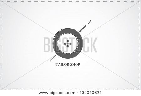 Tailor shop and sewing simbol with button and needle