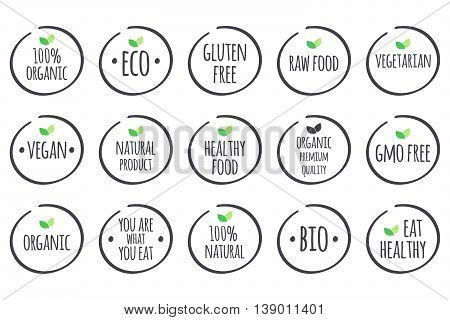 Vector grey symbols with green leaves on white. 100% Organic Eco Gluten Free Raw Food Vegetarian Vegan Natural Product Healthy Food Premium Quality Gmo Free You are what you eat Bio Eat Healthy.