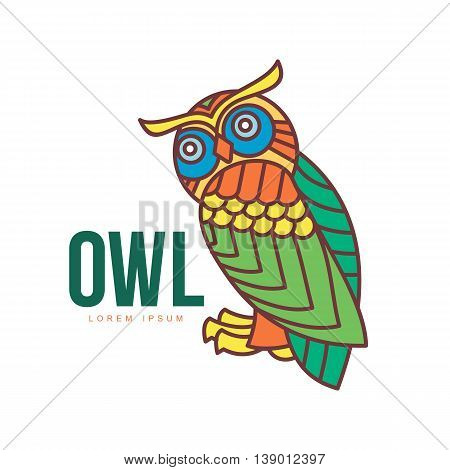 Set of colorful owl logo templates. Vector illustration isolated on white background. Great multicolored owl logo templates for companies, schools and colleges