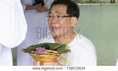 Man Who Will Become Buddhism Monk Crying With Happy And Delightful Feeling In Ordination Ceremony