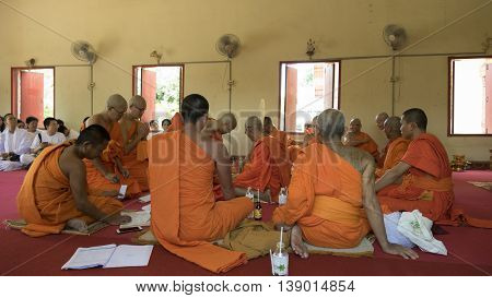Man Who Will Become Buddhism Monk Praying In Ordination Ceremony