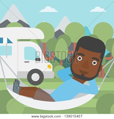 An african-american man lying in a hammock in front of motor home. Man resting in hammock and enjoying vacation in camper van. Vector flat design illustration. Square layout.
