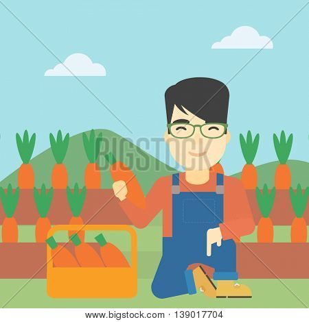 An asian farmer collecting carrots in basket. Young farmer holding a carrot on the background of field. Vector flat design illustration. Square layout.