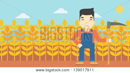 An asian farmer holding a scythe. Young farmer standing on the background of wheat field. Vector flat design illustration. Horizontal layout.