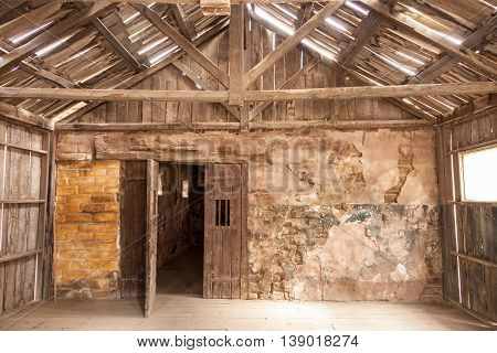 Interior of an old abandoned wooden house