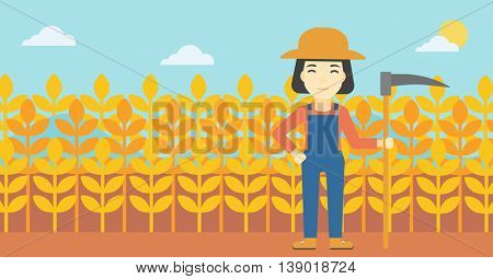 An asian female farmer holding a scythe. Young farmer standing on the background of wheat field. Vector flat design illustration. Horizontal layout.