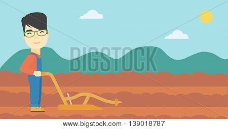 An asian farmer using a plough on the background of plowed agricultural field. Farmer working with a plough. Vector flat design illustration. Horizontal layout.