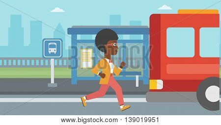 An african-american latecomer woman running along the sidewalk to reach a bus. Young woman came too late at bus stop. Woman chasing a bus. Vector flat design illustration. Horizontal  layout.
