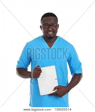 Professional African doctor with tablet, isolated on white