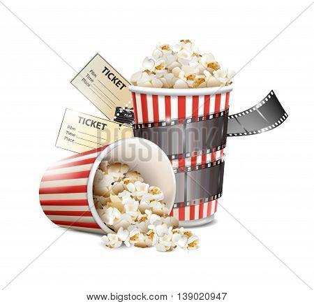 popcorn and movie film tape , vector illustration