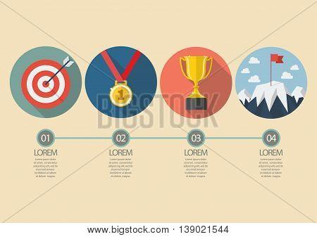 Sport winner concept infographic. Flat style design vector illustration
