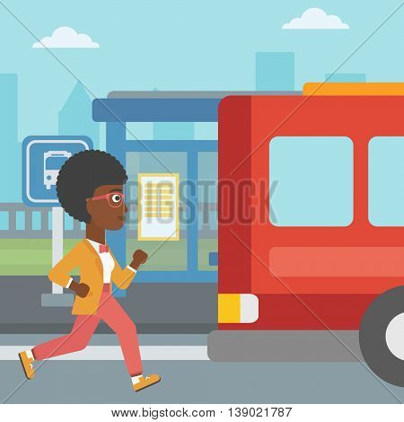 An african-american latecomer woman running along the sidewalk to reach a bus. Young woman came too late at bus stop. Woman chasing a bus. Vector flat design illustration. Square layout.