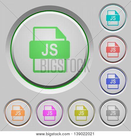 Set of color JS file format sunk push buttons.