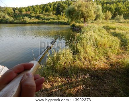Fishing tackle for fishing, fishing hooks on nature