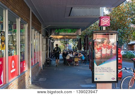 Sydney Australia - Jul 3 2016: Challis Avenue in Potts Point - a small densely populated historic suburb of inner-city Sydney. It is one of Sydney's leading entertainment precincts