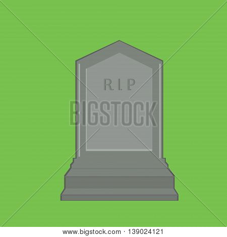 Vector illustration grey gravestone with text R.I.P. isolated on green background. Flat tombstone icon. rip