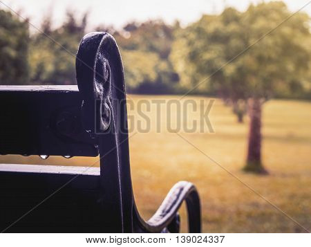 Close up of old curved steel and wooden vintage bench with water drop after rainy in blurry garden background Vintage Filter Selective Focus