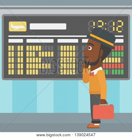 An african-american man with a briefcase looking at departure board at the airport. Passenger standing at the airport in front of departure board. Vector flat design illustration. Square layout.