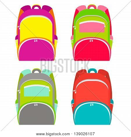 School backpacks collection isolated on white. School backpack in 4 different versions. Vector illustration