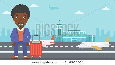 An african-american man frightened by future flight. Young man suffering from fear of flying. Phobia, fear of flying concept. Vector flat design illustration. Horizontal  layout.