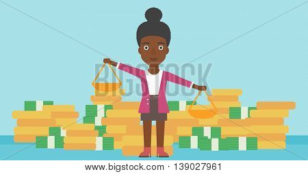 An african-american business woman holding scales in hands on a blue background with stacks of coins. Vector flat design illustration. Horizontal layout.