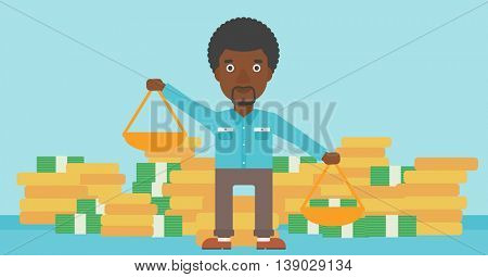 An african-american businessman holding scales in hands on a blue background with stacks of coins. Vector flat design illustration. Horizontal layout.