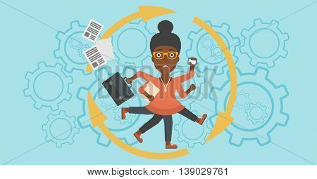 An african-american young business woman with many legs and hands holding papers, briefcase, smartphone. Multitasking and productivity concept. Vector flat design illustration. Horizontal layout.