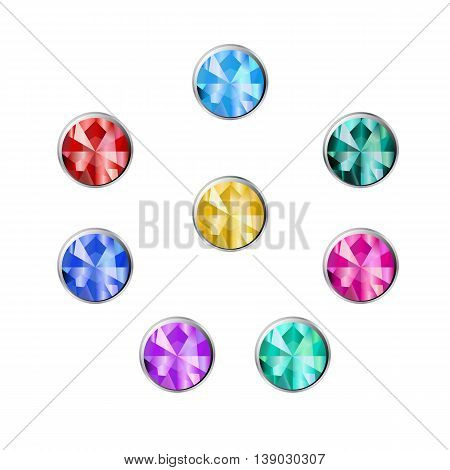 Gemstone round shape in a silver frame. Set of buttons of jewels