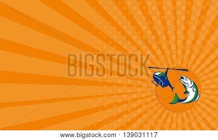 Business card showing illustration of helicpoter heli fishing reeling a jumping barramundi or Asian sea bass (Lates calcarifer) with sun in background on isolated background done in retro style.