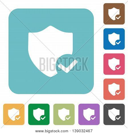 Flat protection ok icons on rounded square color backgrounds.